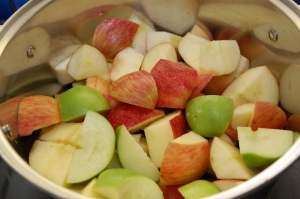Cut the apples into even chunks.