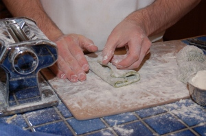 Flour the dough before you roll it each time -