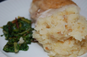 mashed potatoes and spring onions