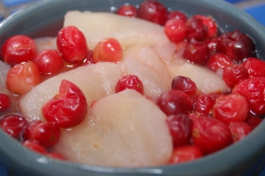 poached pears with cranberries