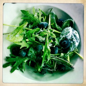 creamy mint salad with blueberries